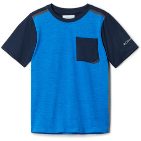 Columbia Tech Trek Camiseta Manga Corta Niños, azure blue heather/collegiate navy
